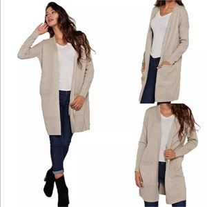 Love Stitch Waffle Pocketed Open Cardigan